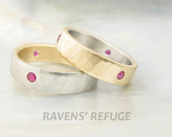 unique his and hers wedding band set -- two tone wedding rings with flush set rubies, 14k gold