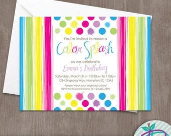 Rainbow Invitation, Rainbow Birthday Party Invitation, Color Splash Printable Invite, Art Party Invitation