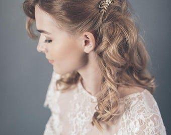 Wedding hair comb - Wedding headpiece silver or gold - Leaf hair comb