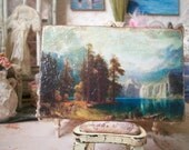 Beirstadt Sierra Nevada Landscape Antique Painting Miniature 1:12 Dollhouse Scale, American West Classical Realism Oil Reproduction
