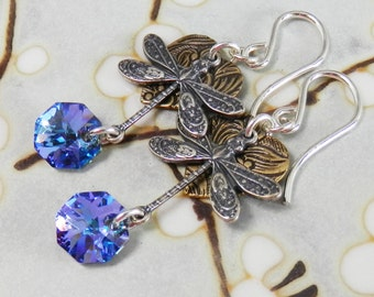 Dragonfly, Heart and Butterfly with Swarovski VItrail Light Crystal Sterling Silver Earrings