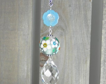 Daisies and Ladybug Lampwork Bead and Faceted Quartz Crystal  Pendant with Chain featuring a Pikalda Bead
