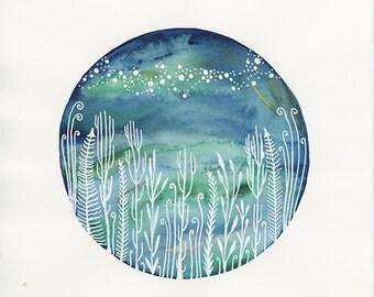 Star Art // nursery art // Milky Way Galaxy and the Midnight Garden