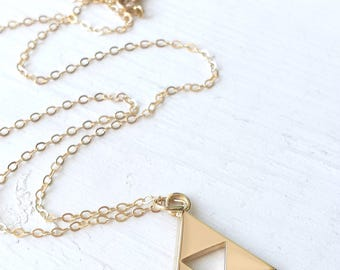 Gold Triforce Geeky Necklace - Customize Your Gemstone - Legend of Zelda - Emerald, Sapphire, Moissanite, Ruby