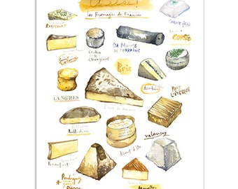Cheese print, Watercolor french cheese painting, Kitchen print, Food art, French kitchen decor, Kitchen wall art, Culinary art, Kitchen gift