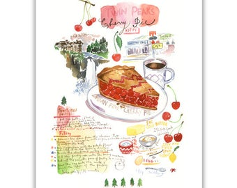 Twin Peaks cherry pie recipe print, Watercolor painting, Kitchen art, Cherry pie illustration, Home decor, Food artwork, Twin Peaks poster