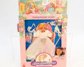 vintage 80s Lady Lovely Locks Masquerade Gown MOC MIB On Card In Box Doll Clothes Dress and Pixietail Sea Horse Pink Shoes Accessories