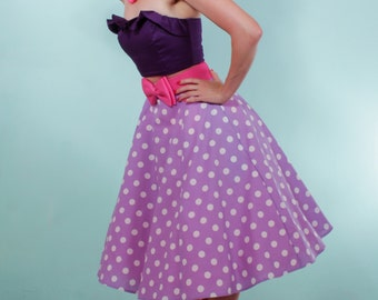 Lilac fifties Polka Dot Rockabilly Flared Skirt