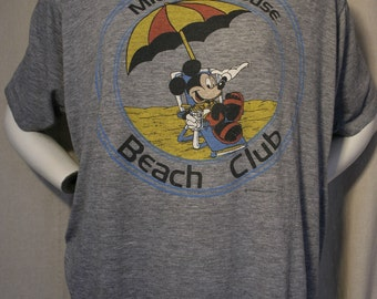 70's/80's Mickey Mouse Disney Beach Club heather grey super soft Artex tri-blend t-shirt - men's sz L/XL
