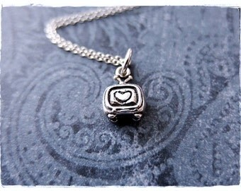 Tiny TV Necklace - Sterling Silver TV Charm on a Delicate Sterling Silver Cable Chain or Charm Only