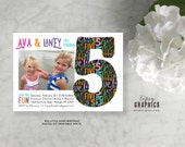 BIG Little. Twins Joint Siblings Bold Graphic & Modern Birthday Invite with Photo by Tipsy Graphics. Any age, any colors. Boys Girls Twins