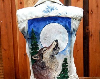 HOWLING Wolf FULL Moon Wearable Art Upcycled Vest Hand Painted Denim Vests Embellished Clothing Bleach Dyed Jeans Painted Wolves Jackets