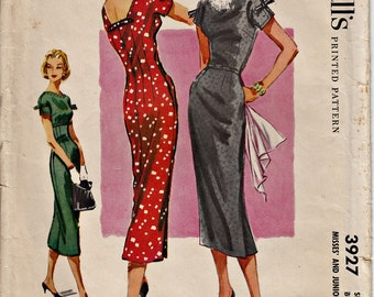 1956 Fitted Slim Sheath Dress Pattern with Low Back Square Neckline McCall's 3927 Vintage 50's Dress Pattern UNCUT, Factory-Folded Bust 31.5