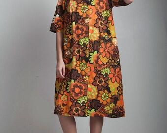 SALE oversize vintage 70s peter pan collar spring coat pocket smock dress brown orange floral EXTRA Large XL