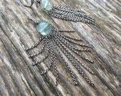 RESERVED Aqua Earrings - Fluorite Gemstone with Silver Fringe - Bohemian Long Chain Dangle Earrings - Gypsy - Boho chic