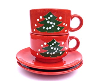 2 Vintage Ceramic Christmas Mugs Cups Christmas Coffee Mugs / Cups With Saucers Waechtersbach Christmas Tree Mugs