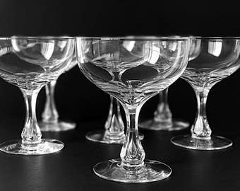 2 Vintage Coupe Champagne Glasses Crystal Coupes Bubble Stems Crystal Stemware