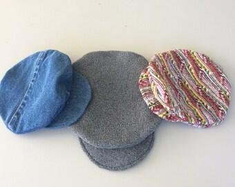 NewsBoy Caps  Handmade Newspaper Boy Hat Newborn to 6 Month Newsie Hats VTG Wild+Crazy Fabric * RePurposed Denim * Recycled Fabric