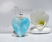 Larimarandsilver pendant, Crystal of Love - aqua Larimar heart, topaz blue, angel heart, turquoise blue, sky blue, handmade Larimar pendant