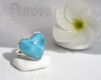 Larimar heart ring size 7.25 by Larimarandsilver, Heart of the Abyss - teal blue Larimar heart, bohemian blue heart, handmade Larimar ring