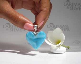 AAA Larimar heart pendant by Larimarandsilver, Island of Love - azure Larimar heart, Swiss blue heart, turtleback, handmade Larimar pendant