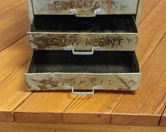 Weatherhead Parts Bin; Edelmann; Vintage Industrial Drawers; Antique Metal Bin; Metal Drawer; Industrial Storage; Masculine Organization