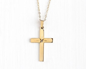 Vintage 14k Rosy Yellow Gold Filled Diamond Cross Pendant Necklace - Retro Etched Star Crucifix Religious Faith GF Chain CA Carl Art Jewelry