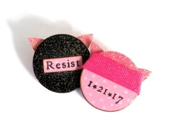 Set of Pussy Hat Magnet and Pin Womens March Commemorative Pussy Pin and Magnet Set Womens Rights Resist Political Jewelery Anti-Trump