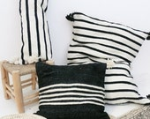 Moroccan POM POM pillow cover - black wool with white stripes