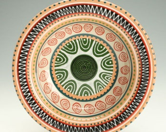 Rim Soup Cereal Bowl, Shallow Ceramic Bowl, Redware Pasta Bowl, Medallion Designs, Serving & Personal Bowl Dinnerware, Decorative Tableware
