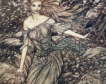 Undine Under Tree, Arthur Rackham, Vinatge Art Print