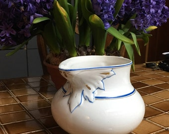 Elegant French Country Antique Ironstone Pitcher with fine blue line and gold trim