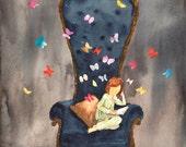 Butterflies greeting card butterflies holiday card butterflies stationery girl reading greeting card reading greeting card