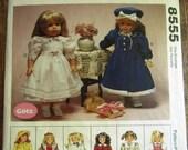 Vintage 1990s 18 inch Doll Clothes: Raincoat, Dress, Sweater, Skirt, Apron, Top McCalls Crafts Pattern 8555 UNCUT