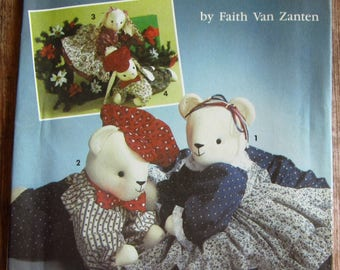 Vintage 1990s Sitting or Reclining Bear or Bunny by Faith Van Zanten Simplicity Crafts Pattern 7474 UNCUT