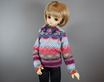 MSD Hooded Long Sleeve Blue, Green, Pink/Coral Knit Fair Isle Sweater for Boy & Girl BJD
