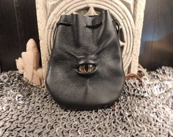 Dragon eye dice bag (Black  leather with Gold Eye)----New Style-----