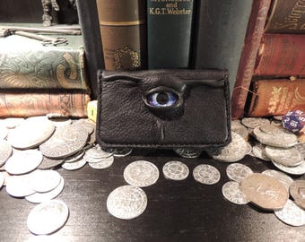 Leather Business Card Holder / small wallet (Purple  eye in  Black leather)