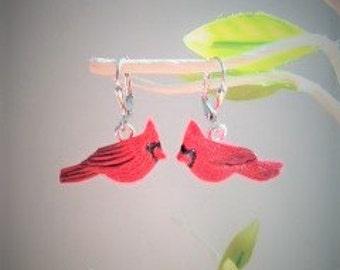 Cardinal Birds- Original Artwork Earrings