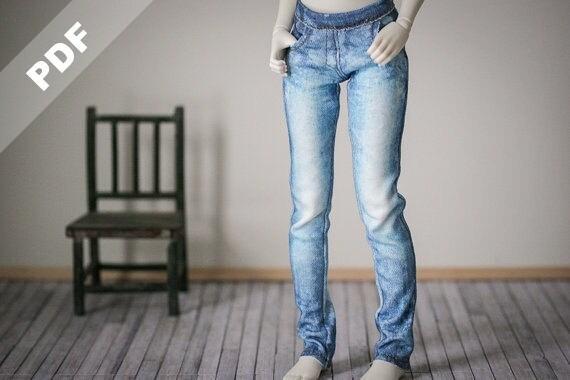 "PDF Pattern: ""Stretch Jeans"" for 1/4 MSD, Forever Virginia Kid Briar and Fashion BJDs & Ellowyne Wilde"