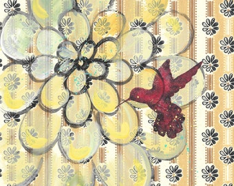 For The Birds - original painting, Magenta Hummingbird and Yellow Green Zinnia Flower painted on Vintage Wallpaper