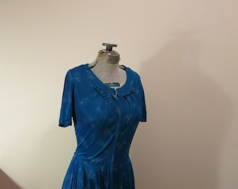 Dress teal blue green floral 1950s fit flare rockabilly velvet bows M L