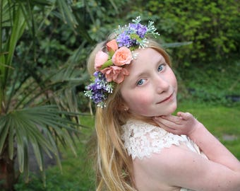 lavender flower crown, READY TO SHIP, lavender and vintage peach tieback, maternity flower sash, ready to ship, just add measurement