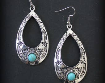 Oval Tribal Aztec Native American inspired dangle earrings with a Howlite Turquoise stone Gypsy  Boho chic Ethnic design by Inali
