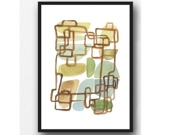 Abstract watercolor print, Abstract painting, watercolor painting geometric