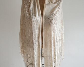 Ivoy Rayon Lace Fringe Shawl