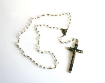 Glass Bead Italian Cross Rosary