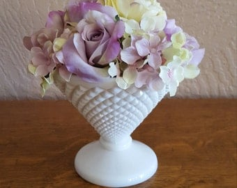 Westmoreland English Hobnail Compote in White Milk Glass - Wedding Decor - Oak Hill Vintage
