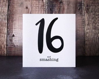 16 and Smashing Birthday Card - 17 and So Smart Birthday Card - 16th Birthday Card - Birthday Cards for Teens - Teenager Celebration Card