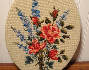 Vintage Framed Needle Point  - Embroidered Chair Cover or Wall Art  -